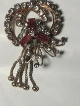 Gorgeous Vintage Signed M&S Gold Filled Pendant Brooch Pink & Clear Stones - $23.76