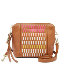 Fossil Maya Pink Multi Leather/Cotton Lining Zipper Closure Crossbody - $299.99