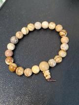 Brown Stone Stretch Bracelet Jewelry Unisex Fashion Simple Style Round Bead Cute - $10.94