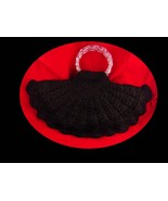 "1940s HUGE Fan Purse - black cord crochet -  20"" x 12""  handbag clutch -... - $135.00"