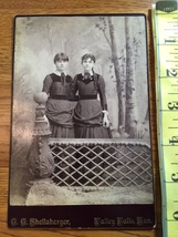 Cabinet Card Two Pretty Teen Sisters in Matching Dresses Kansas 1860-80! - $10.00