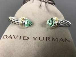 David Yurman Sterling Silver & 18k Gold  7mm PRASIOLITE Cable Classic Bracelet - $544.50