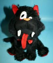 "Hug & Luv KITTY CAT 10"" Halloween Eyelash Plush Black Red Soft Toy Fangs... - $17.32"
