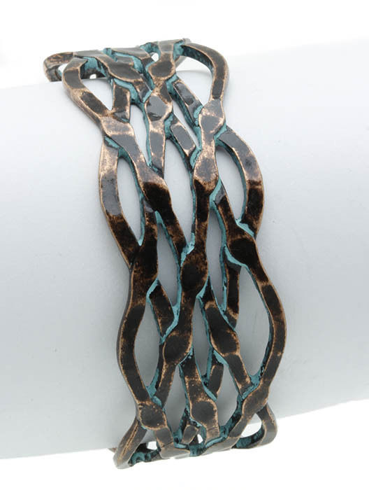 Aged Hammered CutOut Entwined Cuff Bracelet Aged Gold-Tone