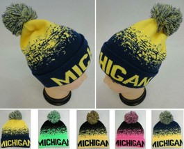 MICHIGAN State Digital Beanie Hat PomPom Winter Toboggan Knit POM Blue Y... - $8.68