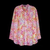 CHAPS Plus Sz Shirt 2X Light Crepe Floral Button Down Long Sleeve Blouse Career - $21.78