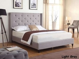 King Queen Full Twin Size Beds Platform Bed Upholstered Gray Headboard &... - $158.37+