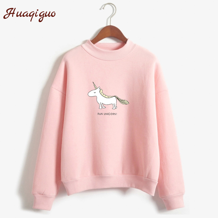 Women Hoodies Female Long Sleeve Fleece Turtleneck Sweatshirt 2017 Autumn Winter