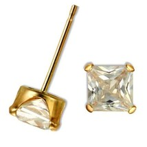 Solid 10k Yellow Gold 1.5ctw Princess Diamond Alternatives Stud Earrings... - $58.79