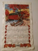 Vintage 1980 Calendar Tea Towel Linen Kitchen Decor Towel - $9.89