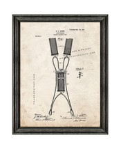 Suspenders Patent Print Old Look with Black Wood Frame - $24.95+