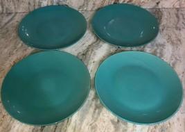 "Royal Norfolk 10 1/2"" Ceramic Type Dinner Plates Set Of 4 Teal(New)SHIPS... - $39.48"