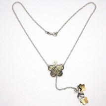 SILVER 925 NECKLACE, CHAIN ROLO', FLOWER, DAISIES HANGING, BICOLOR image 2