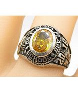LOLNIER 925 Sterling Silver - Yellow Topaz 2018 Class Ring Sz 9 - R7461 - $56.19