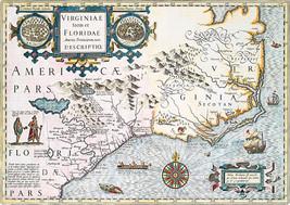 Florida Virginia 1636 Map Indian Native American Settlements Villages Ar... - $16.34