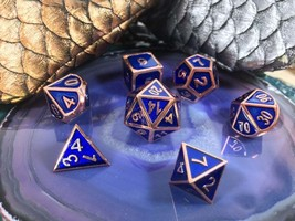 D&D Rose Gold and Blue METAL Dice 7 Piece Set + Bag d20 d12 d10 d% d8 d6... - $23.95