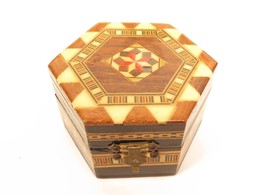 Vintage Inlaid Wood Hexagonal Small Marquetry Jewelry Box*2-11/16 x 3-1/... - €21,44 EUR