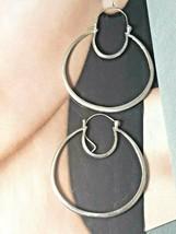 """Unique Vintage Sterling Silver Hoop Earrings 1-1/2"""" Dia 8.3 grams - $52.25"""