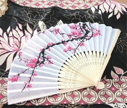 Cherry Blossom Silk Fans - Baby Shower Gifts & Wedding Favors (Set of 12) - $30.18