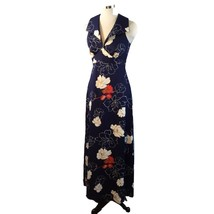 Vtg Tori Richard Wide Collar Faux Halter Maxi Dress Navy Red Tan S - $74.25
