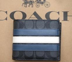 NWT Coach $175 Mens Compact ID 3N1 Signature Canvas Varsity Stripe Walle... - $69.99
