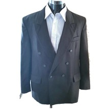 Andre Villard Mens Double Breasted Suit Jacket Green 100% Wool Twill 44R - $39.59