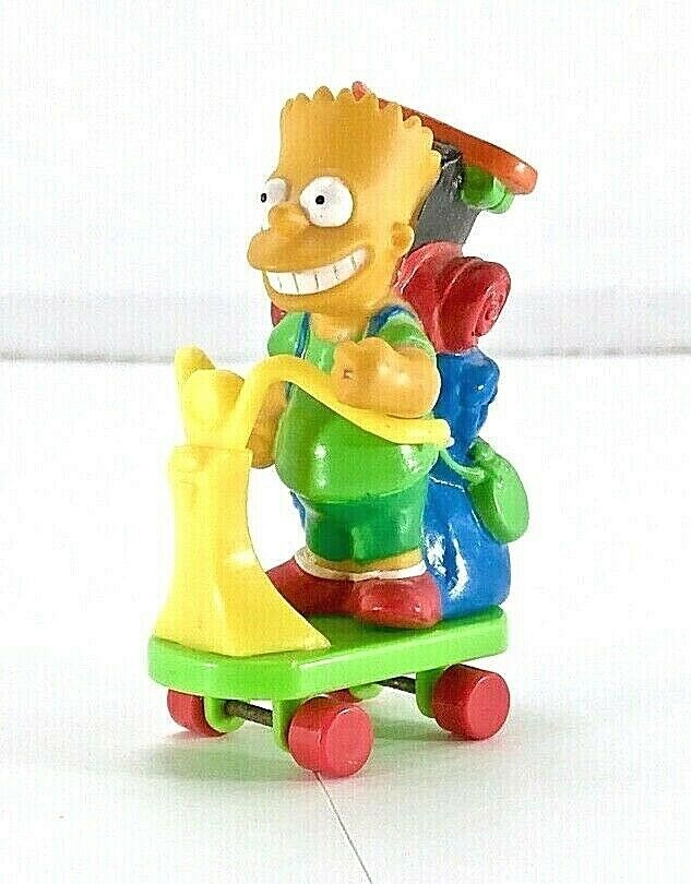 VTG 1990 Bart Simpson Figurine Camping Backpack on scooter Rare! - $24.75