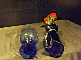 Blue Cat Stem Vase and Wine Glass AA19-1584 Vintage image 4