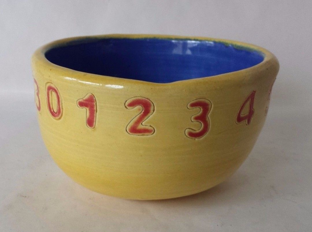Art Pottery Glazed Bowl with Numbers Yellow and 34 similar items