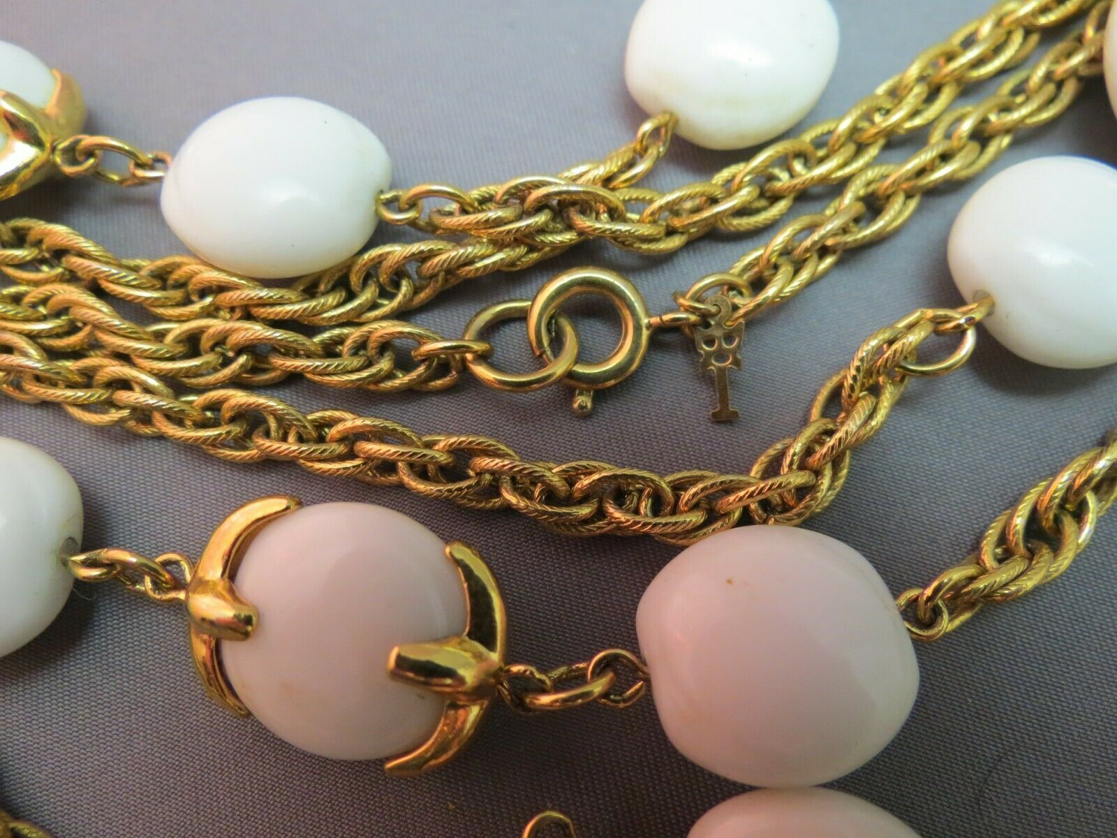 """VTG Crown Trifari Long Necklace Chain Gold Plated Glass Beads Couture 54"""" Long image 3"""