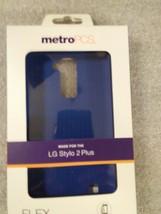 Lg Stylo 2 Plus Metro Pcs Flex Gel Case W/O Screen Protector TPU1450 Blue - $5.93