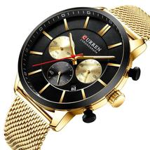 Men Watch CURREN Men's Quartz Wristwatches Steel Clock Male Top Brand Luxury Rel - $50.53