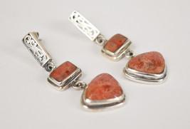 Vintage Sterling Silver Sponge Coral Scroll Design Pierced Drop Earrings - $74.25