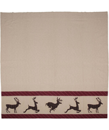 Wyatt deer shower curtain espresso brown white cotton - $68.00