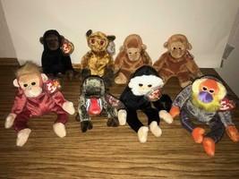 Lot of 8 TY Beanie Babies MONKEYS Plush Beanbag CONGO BONGO MOOCH CHEEKS... - $10.89