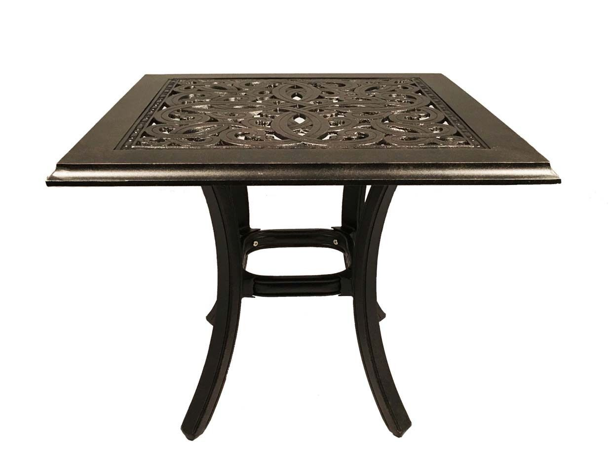 "Patio end table square 24"" Outdoor Cast aluminum Accent Pool side Furniture"