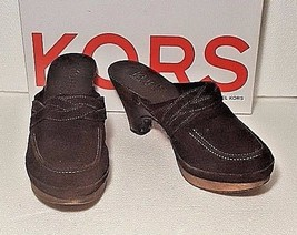 MICHAEL KORS WOMEN SIZE 7.5 ROXY WOODEN PLATFORM CLOGS MULES SHOES BROWN... - $35.63