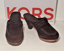 Michael Kors Women Size 7.5 Roxy Wooden Platform Clogs Mules Shoes Brown Suede - $35.63