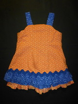 Handmade Boutique Girls Orange Blue Sleevless Dress 2T - $10.88