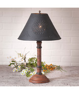TABLE LAMP & PUNCHED TIN SHADE - Distressed Pumpkin over Black Crackle F... - $186.45