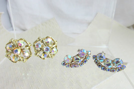 2 Pr AB Rhinestone Earrings Clips Colorful Sparklers Ear Climbers Unsign... - $22.50