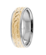 14K Gold Two Tone Infinity Mens Wedding Rings  Womans Celtic Wedding Ban... - $539.78