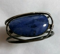 Sterling Silver Artisan Blue Stone Large Cuff Bracelet - $200.00