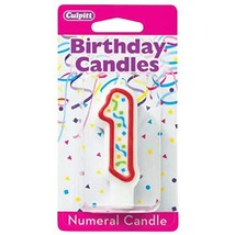 1 Party Red Numeral Candles - $0.58