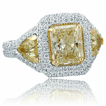 4 Carat Engagement Ring Radiant Cut Trillion Sides Light Yellow Diamond ... - €9.152,19 EUR