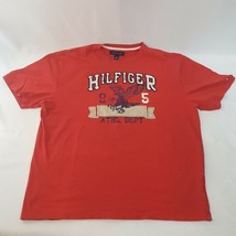Mens Tommy Hilfiger Red T-Shirt  Blue Raised Cloth Patch Graphic XL Cotton Tee - $18.49