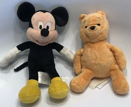"Disney Store Winnie The Pooh and Mickey Mouse Plush Stuffed Dolls 7.5"" Tall - $19.59"