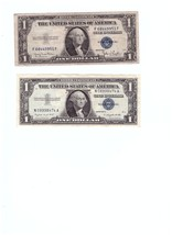 Two (2) U.S. One Dollar Silver Certificates Series 1935 and 1957 - $12.38