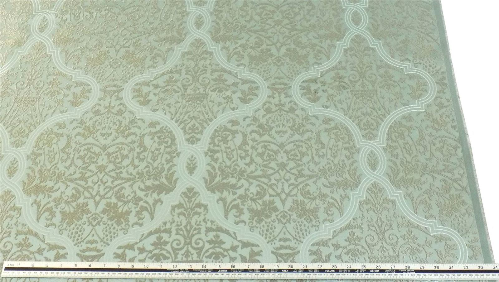 Slub Effect Duck Egg Blue Silver Embroidered Damask Fabric Material *2 Sizes*
