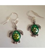 Turtle Earrings Dangle Green Hand Painted Metal Jewelry Hypoallergenic H... - $15.99